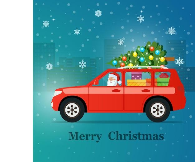 Voiture suv rouge avec le père noël, l'arbre de noël et les coffrets cadeaux. illustration vectorielle.