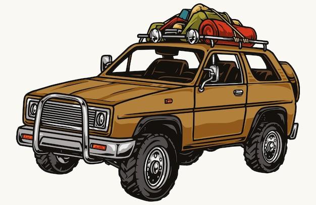 Voiture suv de voyage avec accessoires de camping dans un style vintage isolé