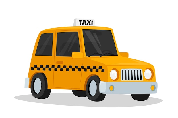 Voiture de taxi, berline taxi jaune avec vérificateur oracle et caisson lumineux sur toit isolé