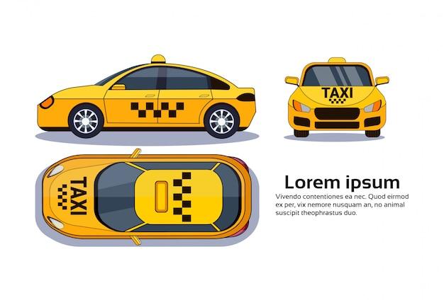 Voiture de taxi sur blanc isolé