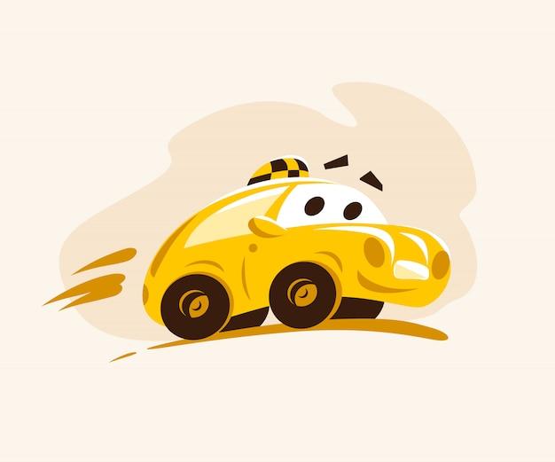 Voiture de taxi à travers la ville. illustration de style dessin animé. personnage drôle. logo du service de taxi. bon pour la publicité, les cartes de visite, les affiches, les pancartes.