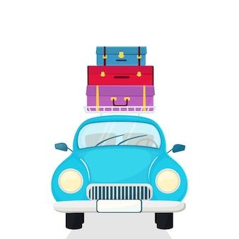 Voiture de tourisme avec valises sur le toit.