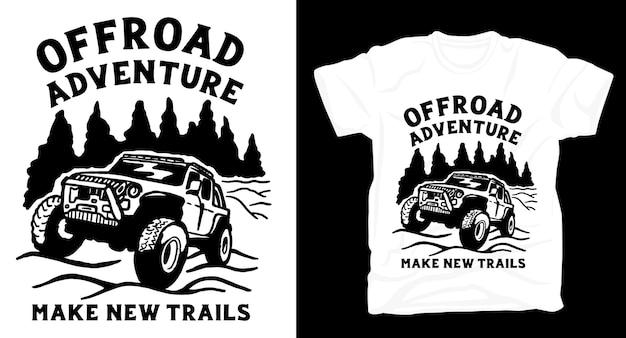 Voiture tout-terrain avec conception de t-shirt illustration nature