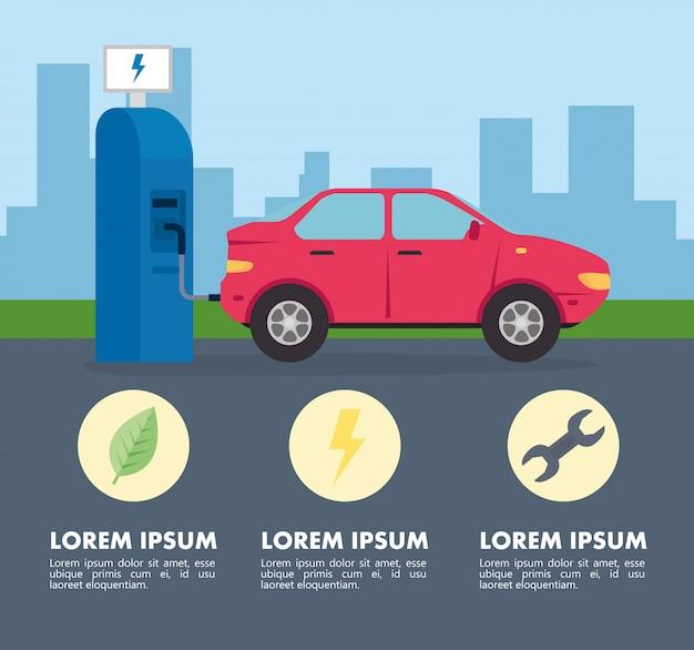 Voiture de véhicule électrique dans la route de la station de recharge avec des icônes vector illustration design