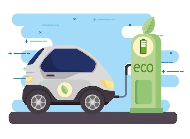 Voiture de véhicule électrique dans la route de la station de recharge