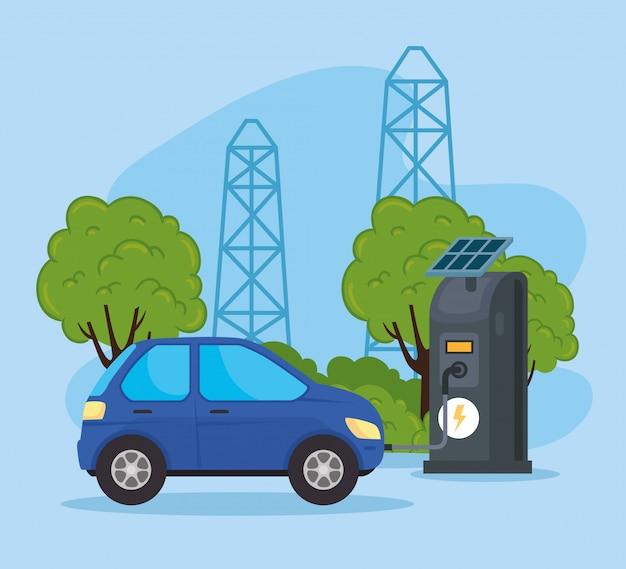 Voiture de véhicule électrique dans la station de charge avec des panneaux solaires vector illustration design