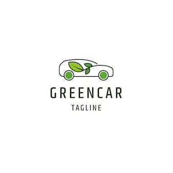 Voiture verte eco nature logo icône modèle de conception vecteur plat