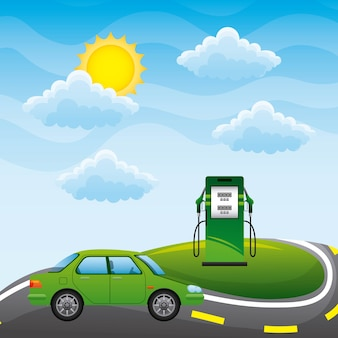 Voiture verte sur route et station pompe biocarburant