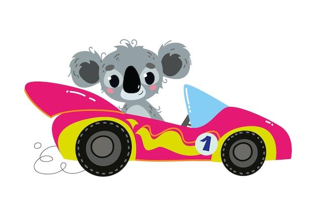 Voiture violette de course de dessin animé moderne de vecteur. le conducteur est un animal - koala. logo drôle et mignon d'enfants automatiques. imprimé girly - pour vêtements, cartes, bannières. comique clipart conduire le sport