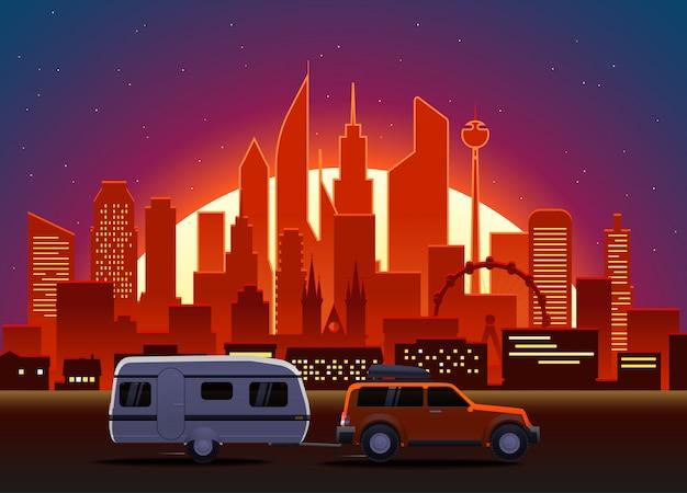 Voiture de voyage dans une ville moderne avec éclairage de nuit