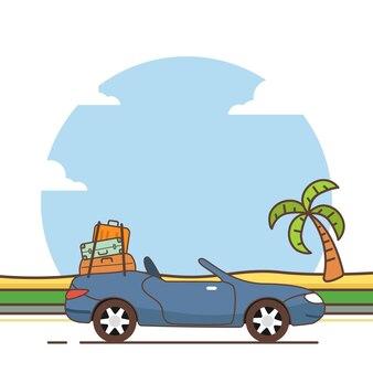 Voiture voyageant pour l'été. voyage en voiture d'illustration