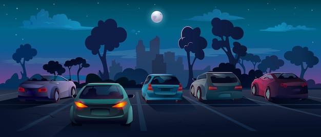 Voitures au parking dans la nuit ville rue vecteur fond plat illustration de dessin animé parking extérieur
