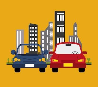Voitures avec image de transport de ville