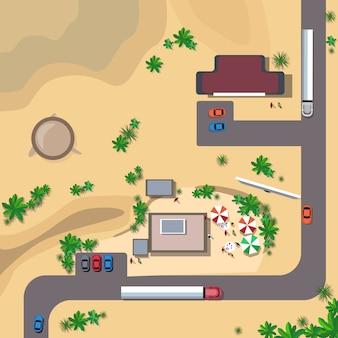 Voitures sur la circulation routière concept vue de dessus d'angle