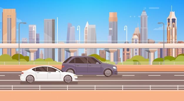 Voitures conduisant ville rue panorama route urbaine