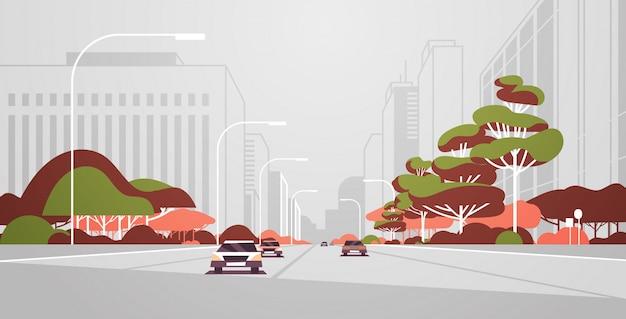 Voitures, conduite, route, moderne, ville, panorama, à, réverbères, gratte-ciel, urbain, paysage urbain, fond, plat, horizontal, bannière