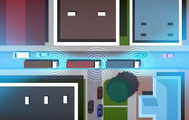 Voitures, conduite, route, ville, rues, bâtiments, haut, angle, vue, horizontal