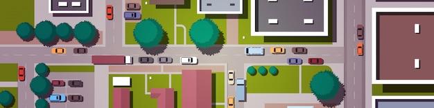 Voitures, conduite, route, ville, rues, bâtiments, haut, angle, vue, urbain, carte, horizontal
