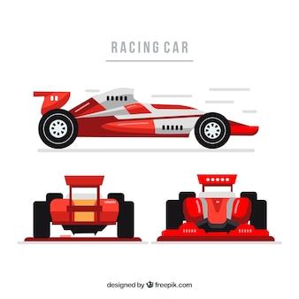 Voitures de course de formule 1 moderne avec un design plat