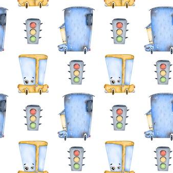 Voitures de dessin animé mignon et modèle sans couture de feux de circulation