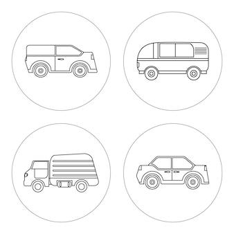 Voitures linéaires van camion poubelle berline suv