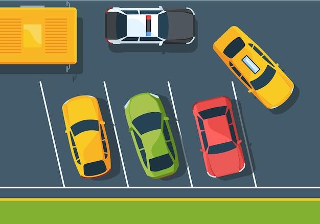 Voitures sur parking vue de dessus à plat. véhicule de police et taxi sur rue. différentes automobiles sur route. suv, berline, hayon. transport coloré au parking sur asphalte