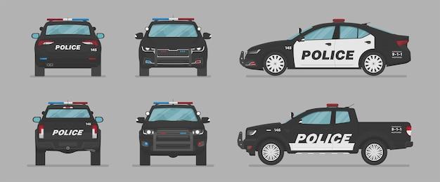 Voitures de police américaines de différents côtés
