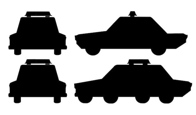 Voitures de police de conception de dessin animé silhouette noire définie illustration vectorielle plane
