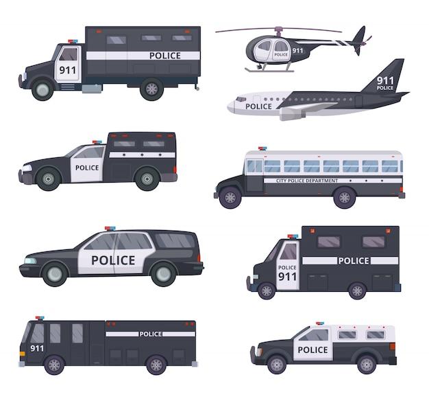 Voitures de police. services de protection des véhicules automobiles