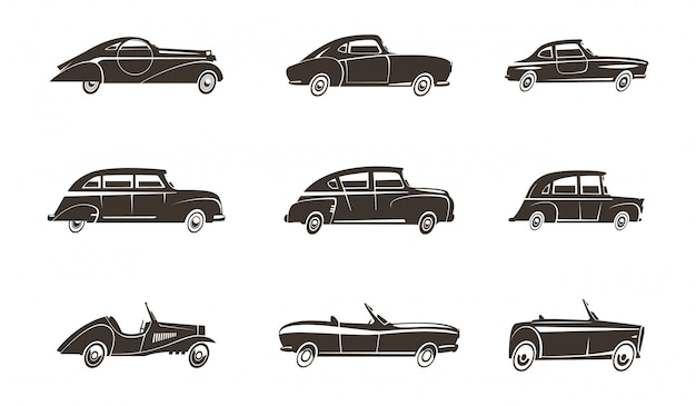 Voitures rétro design automobile icônes noires collection isolée illustration vectorielle