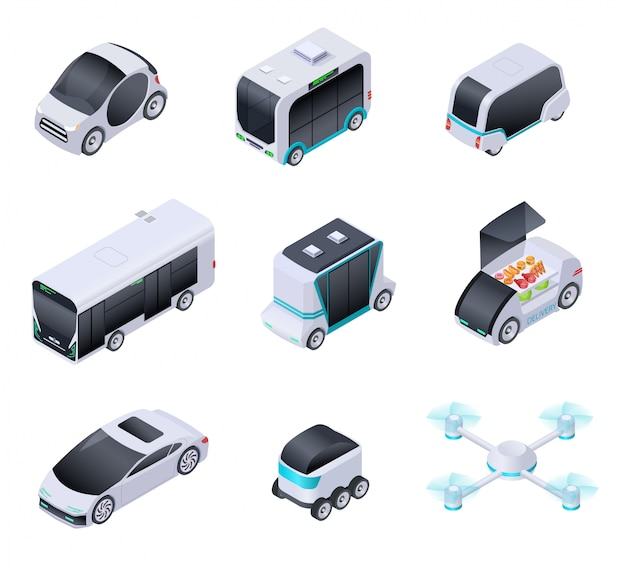 Voitures sans conducteur. futurs véhicules intelligents. transport urbain sans pilote, camion autonome et drone. icônes isolées de vecteur isométrique