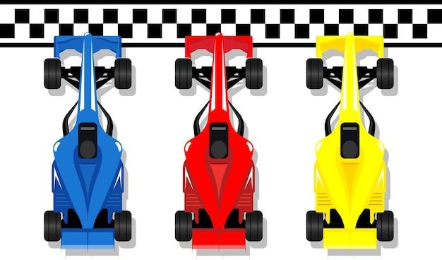 Voitures de sport de course f1 course bolide à la ligne d'arrivée