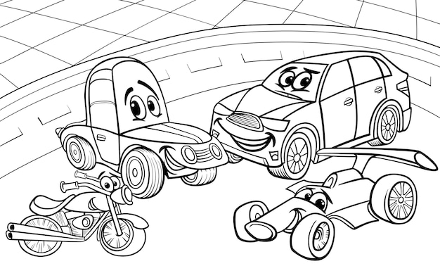 Voitures voitures dessin animé page à colorier
