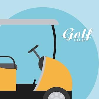 Voiturette de golf sur fond bleu