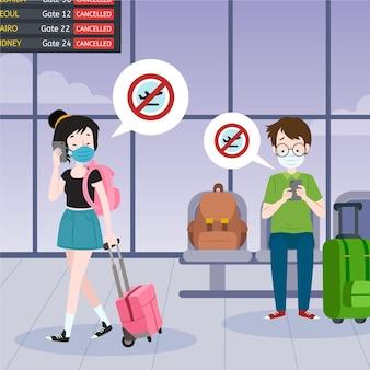 Vol annulé avec des personnes à l'aéroport