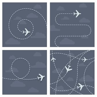 Vol en avion avec trace en pointillé de l'avion