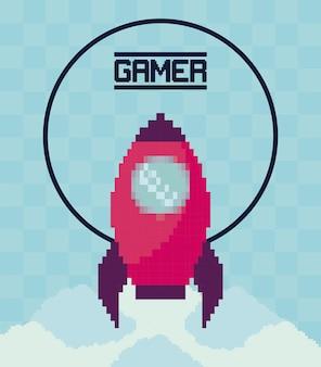 Vol de fusée de jeu vidéo classique
