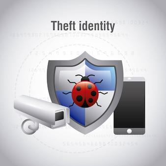 Vol de protection de l'identité bug virus surveillance caméra mobile