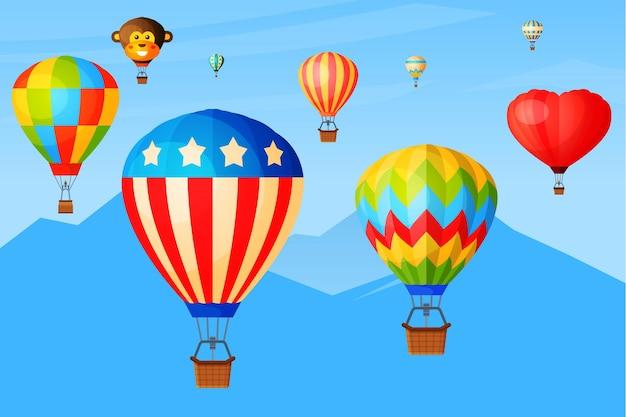 Vol romantique dans le ciel, les ballons survolent la chaîne de montagnes