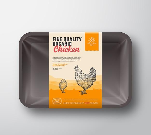 Volaille biologique de qualité supérieure. maquette de conteneur de plateau en plastique de viande