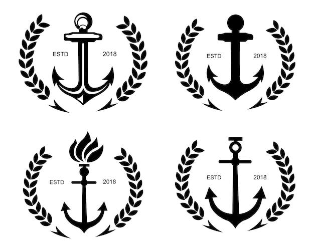 Volant et barre de gouvernail de bateau avec l'ancre au-dessus du symbole de logo de l'eau de vague