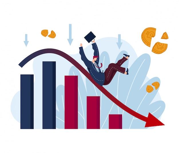 Volatilité des marchés boursiers, crise financière mondiale, petit homme d'affaires perd de l'argent, chute de l'industrie mondiale isolée sur blanc, illustration de dessin animé.