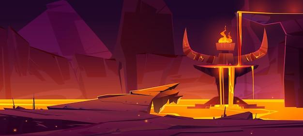 Volcan caverne infernale du monde souterrain de l'enfer