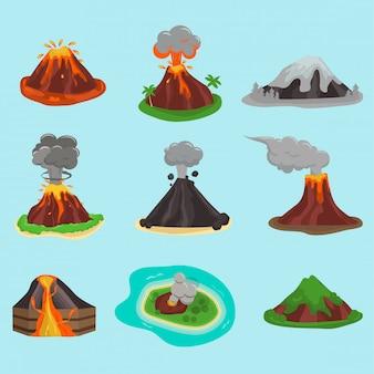 Volcan fixé sur bleu