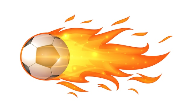 Voler ballon de football avec des flammes isolé sur blanc