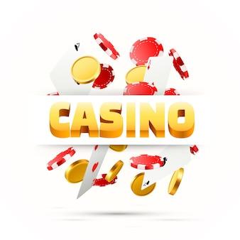 Voler des cartes de poker tombant avec des jetons et des pièces de monnaie. objets de casino sur fond blanc. espace vide pour le texte. illustration vectorielle