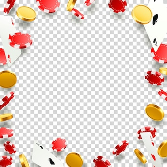 Voler des cartes de poker tombant avec des jetons et des pièces de monnaie. objets de casino sur le fond transparent. illustration vectorielle