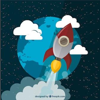 Voler fusée dans l'espace