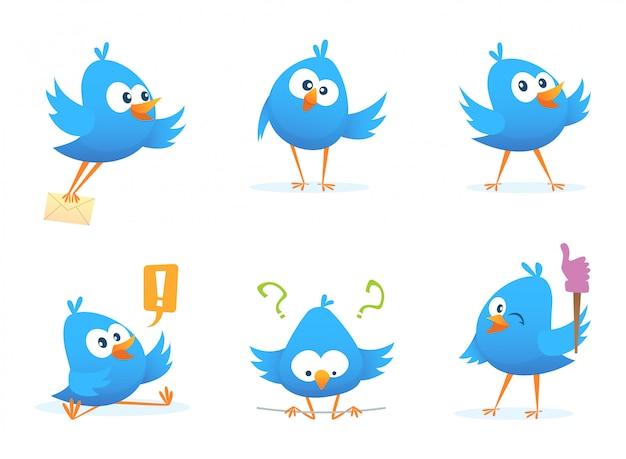 Voler des oiseaux bleus dans un style bande dessinée. oiseau animal bleu dessin animé vole avec message.
