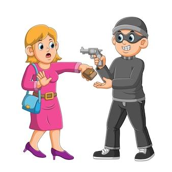 Voleur avec arme à feu volant le portefeuille de l'illustration de la femme